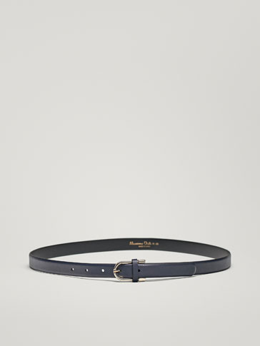 LEATHER BELT WITH METALLIC DETAIL