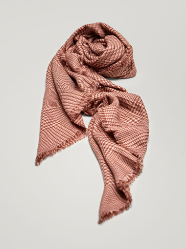 HOUNDSTOOTH WOOL SCARF