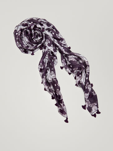 PAISLEY PRINT SILK FOULARD WITH POMPOMS