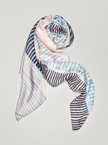 STRIPED SILK FOULARD