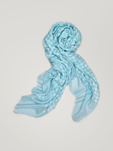 GINGHAM PRINT COTTON SCARF