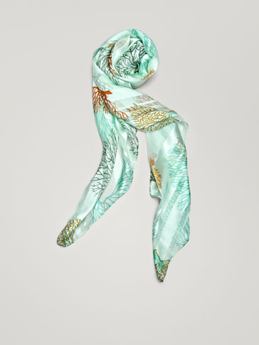 CONTRASTING CORAL PRINT SILK SCARF