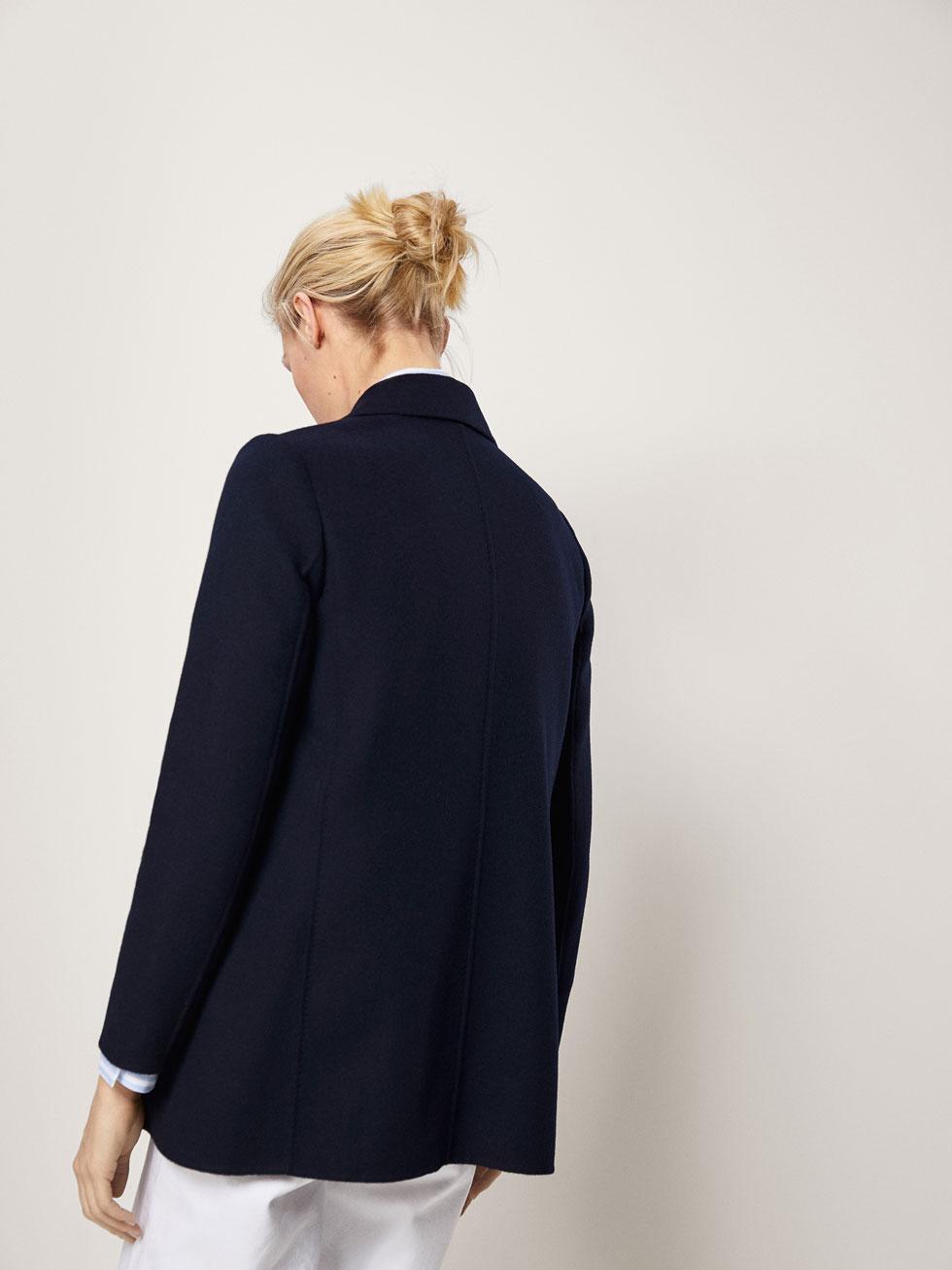Favorite NAVY BLUE WOOL COAT - Women - Massimo Dutti EA86