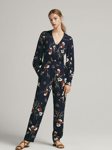 Floral Print Jumpsuit With Lace Trim by Massimo Dutti