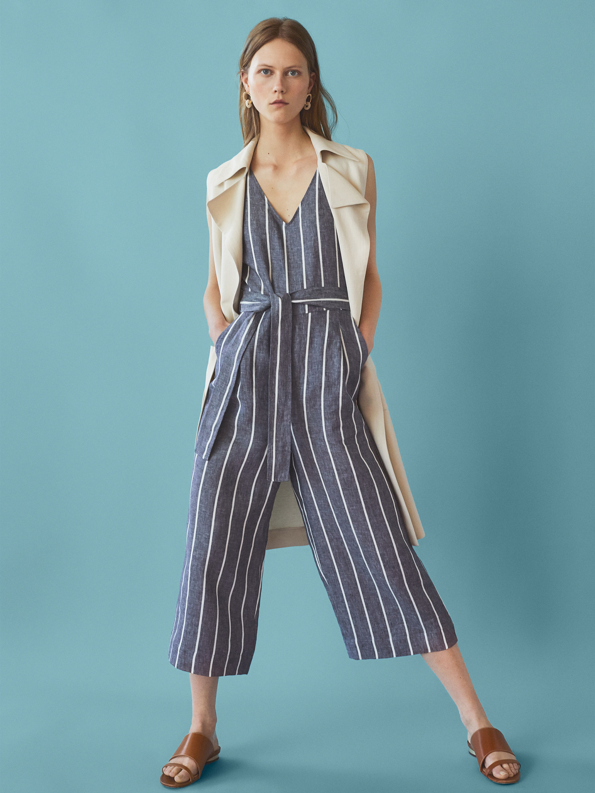 1b89ca1461b Massimo Dutti STRIPED JUMPSUIT WITH DARTS DETAIL at £99.95