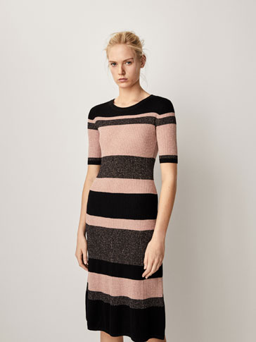 RIBBED DRESS WITH STRIPES AND SHINY DETAILS