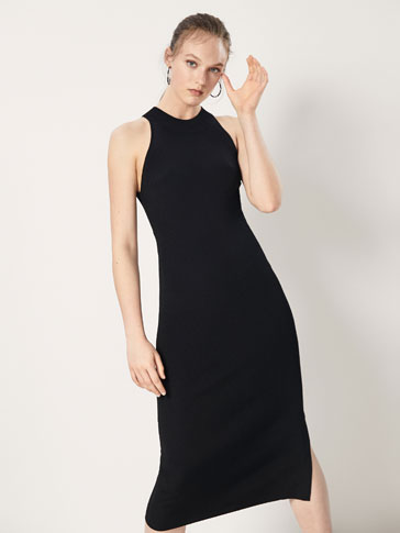 RIBBED DRESS WITH SLIT DETAIL