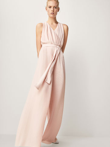 PLEATED JUMPSUIT WITH BELT DETAIL