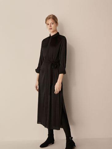 SHIRT DRESS WITH BELT DETAIL