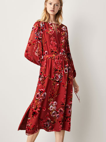 SILK DRESS WITH VELVET PRINT