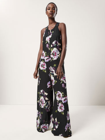 FLORAL PRINT JUMPSUIT WITH BOW DETAIL