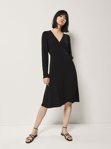 CROSSOVER CREPE DRESS