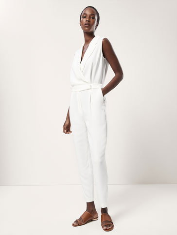 CROSSOVER JUMPSUIT WITH LAPEL COLLAR