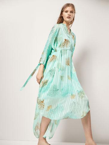 فستان ممزوج مطبوع بالمرجان