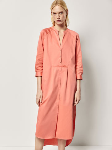 PLEATED POPLIN CAFTAN