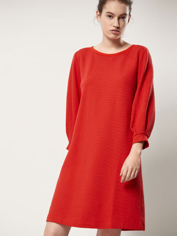 Textured Weave Cotton Dress With Puff Detail by Massimo Dutti