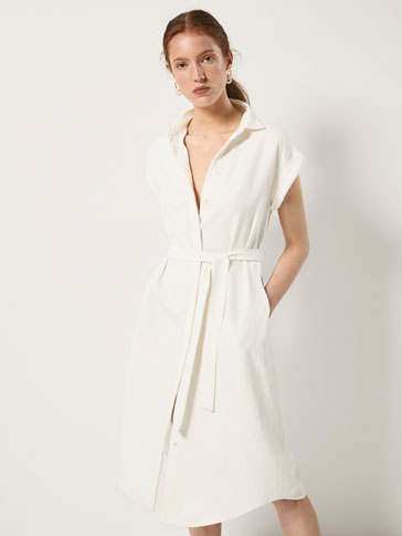 Textured Weave Shirt Dress With Tied Detail by Massimo Dutti
