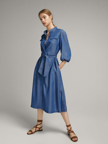 DENIM DRESS WITH FLAP DETAILS