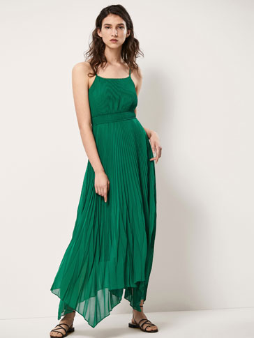 PLEATED DRESS WITH ASYMMETRIC HEM