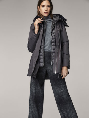 QUILTED PARKA WITH REMOVABLE LINING DETAIL