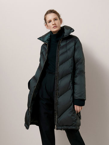 DOWN PUFFER COAT WITH HERRINGBONE DETAIL