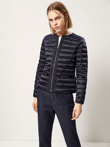 DOWN JACKET WITH GROSGRAIN DETAILS