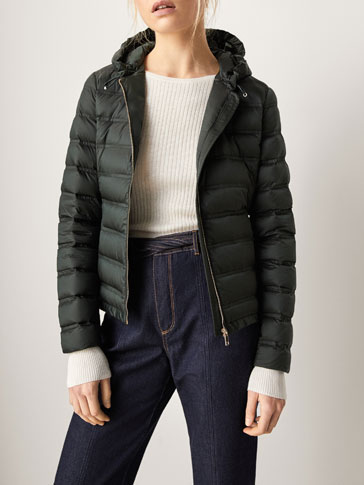 DOWN JACKET WITH EMBELLISHED TOPSTITCHING