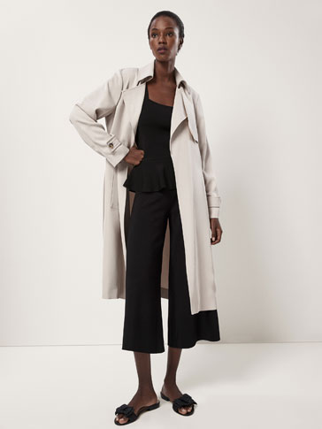 FLOWING TWILL TRENCH COAT