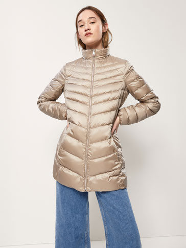 DOWN JACKET WITH HERRINGBONE TOPSTITCHING