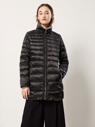 REVERSIBLE DOWN JACKET WITH EMBELLISHED DETAIL