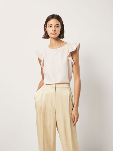LINEN T-SHIRT WITH METALLIC DETAILS