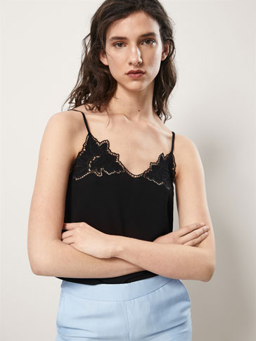 TOP WITH CONTRASTING EMBROIDERED LEAVES