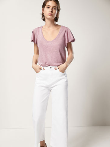 SHIMMERY T-SHIRT WITH FLARED SLEEVES