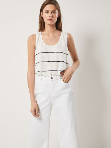 LINEN TOP WITH SEQUINNED STRIPES