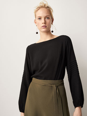 COMBINED T-SHIRT WITH PLEATS