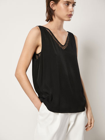 DOUBLE LAYER TOP WITH LACE TRIM DETAIL
