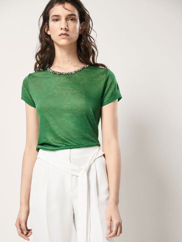 LINEN T-SHIRT WITH GEM DETAIL