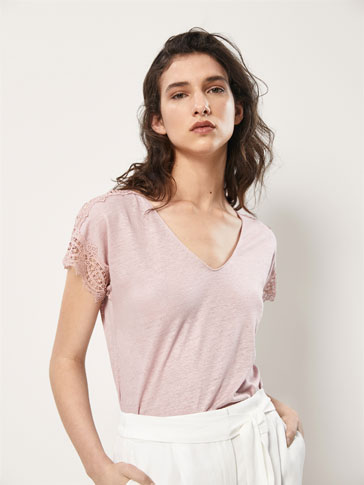 LINEN T-SHIRT WITH LACE DETAIL