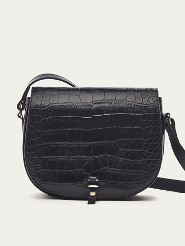 LEATHER CROSSBODY BAG WITH MOCK CROC FINISH