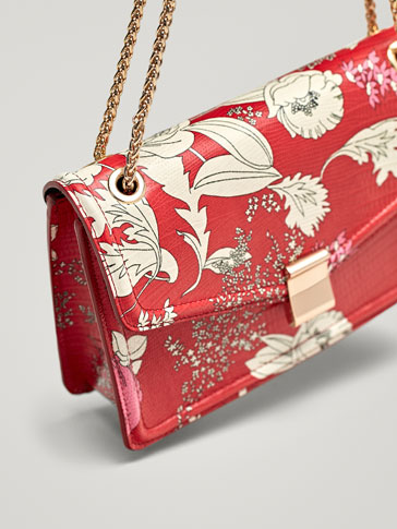 FLORAL PRINT LEATHER CROSSBODY BAG WITH CHAIN DETAIL
