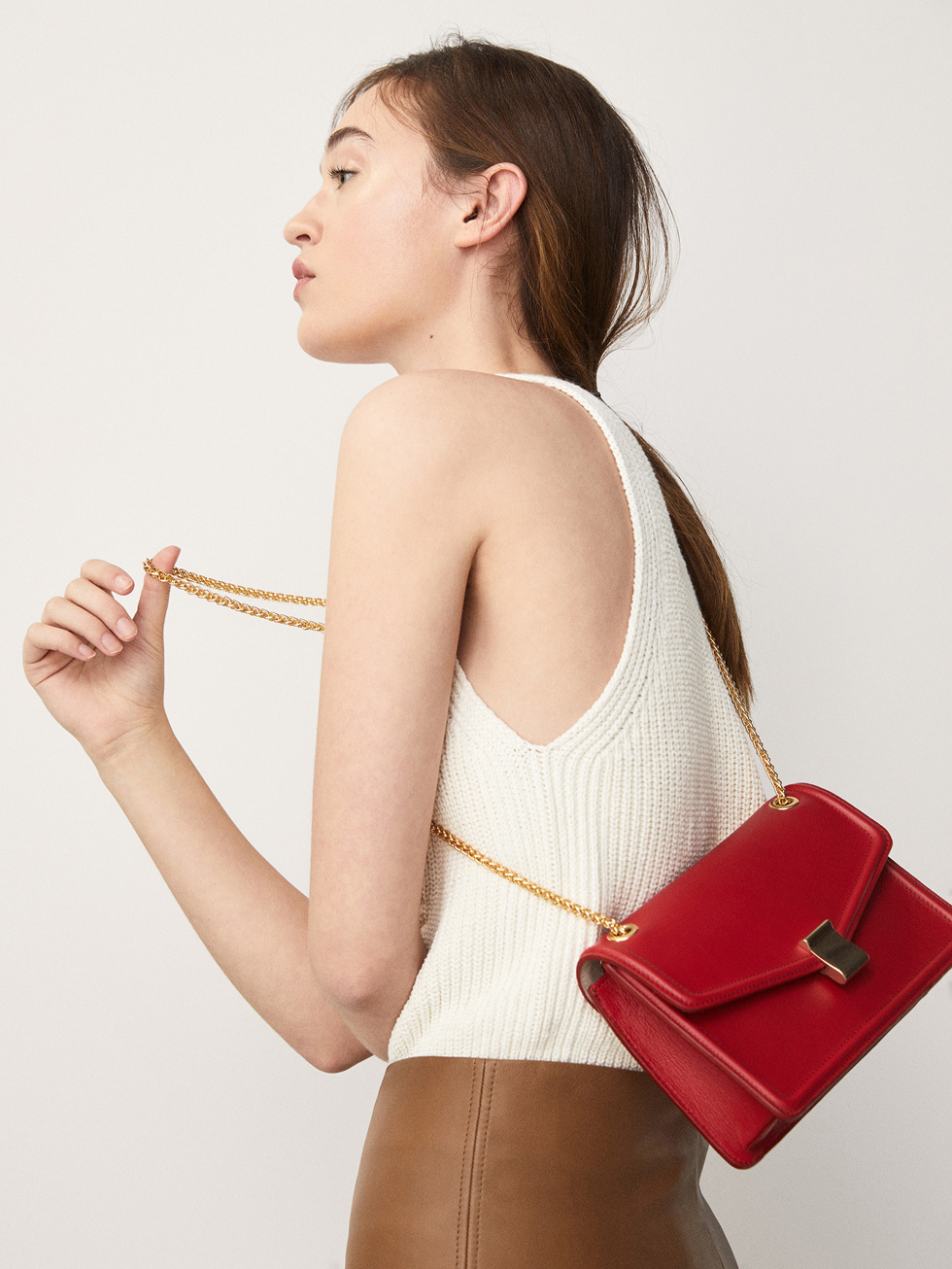 Plain Leather Crossbody Bag With Chain Detail by Massimo Dutti
