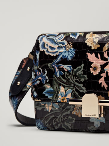 FLORAL PRINT LEATHER MOCK CROC FINISH CROSSBODY BAG WITH METAL DETAIL