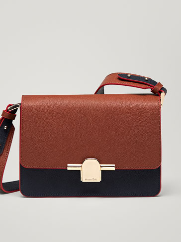 TWO-TONE LEATHER CROSSBODY BAG WITH CONTRASTING EDGES
