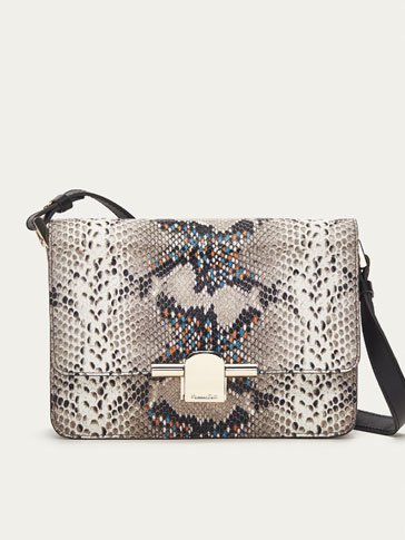 LEATHER MULTICOLOURED SNAKESKIN-EFFECT CROSSBODY BAG WITH METAL DETAIL