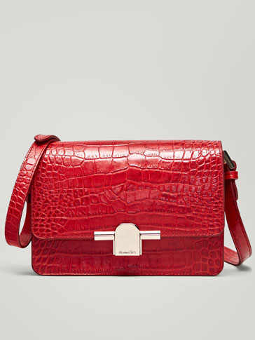 LEATHER MOCK CROC CROSSBODY BAG WITH METAL DETAIL