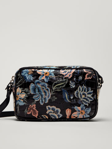 FLORAL PRINT LEATHER MOCK CROC FINISH CROSSBODY BAG
