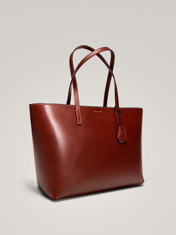 SOLID LEATHER TOTE BAG