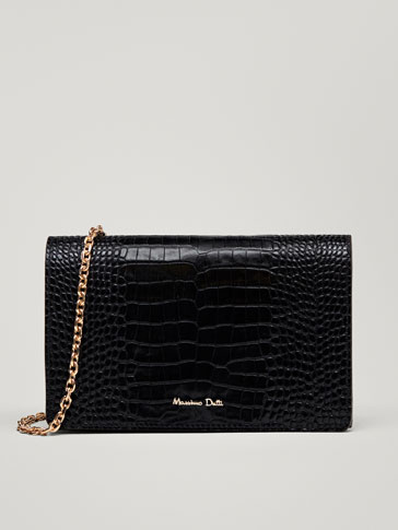 LEATHER MOCK CROC FINISH HANDBAG