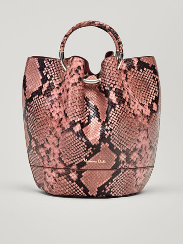 SNAKESKIN EFFECT LEATHER BUCKET BAG