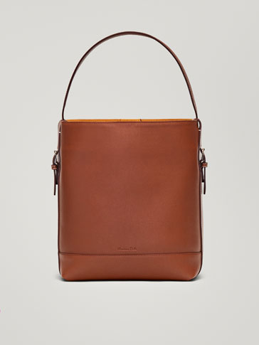 LEATHER HANDBAG WITH CONTRASTING FINISHES